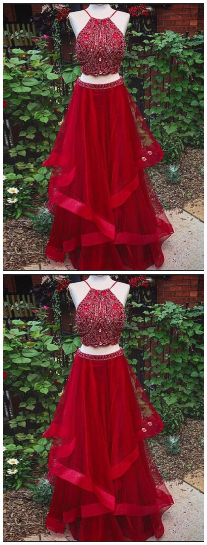 Chic two pieces aline prom dresses red spaghetti straps long prom