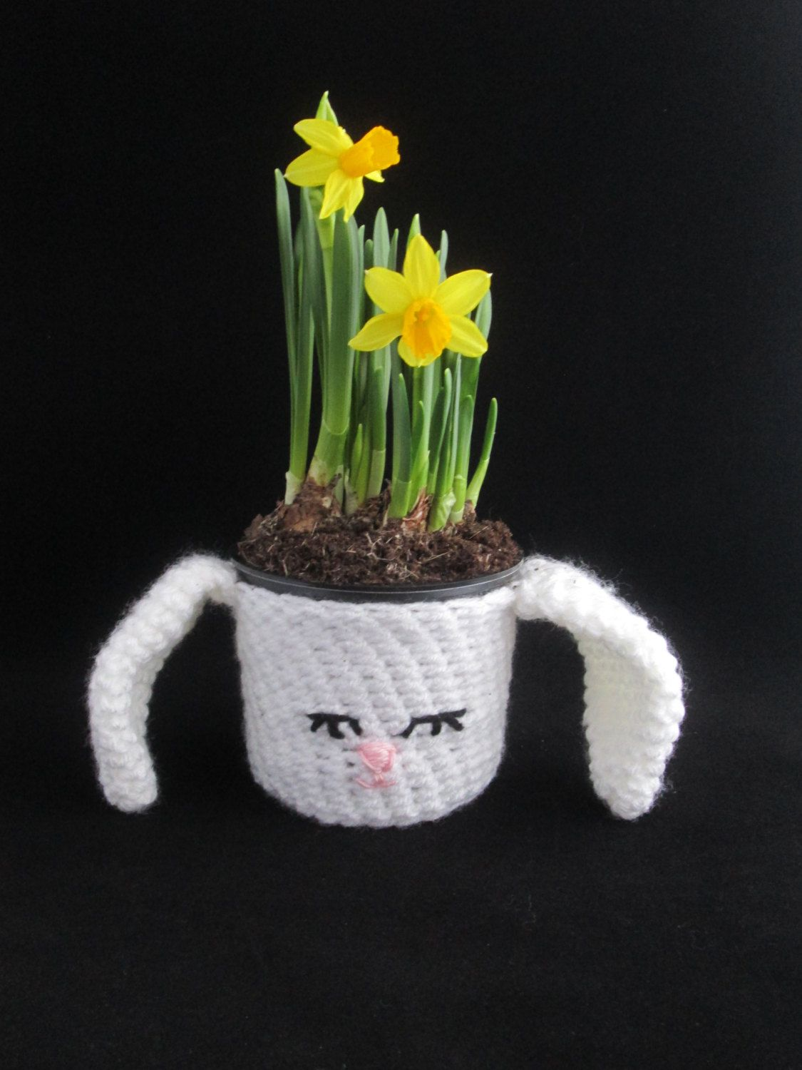 Easter bunny handmade crocheted potted plant covereaster decor easter bunny handmade crocheted potted plant covereaster decorhomewarehousewarming gift by negle Images