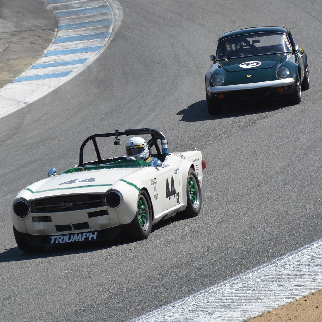 TR6 and Lotus Elan into the corkscrew. 2015 Monterey Motorsports Reunion. #motorsportsreunion #triumph #tr6 #lotus #elan #corkscrew