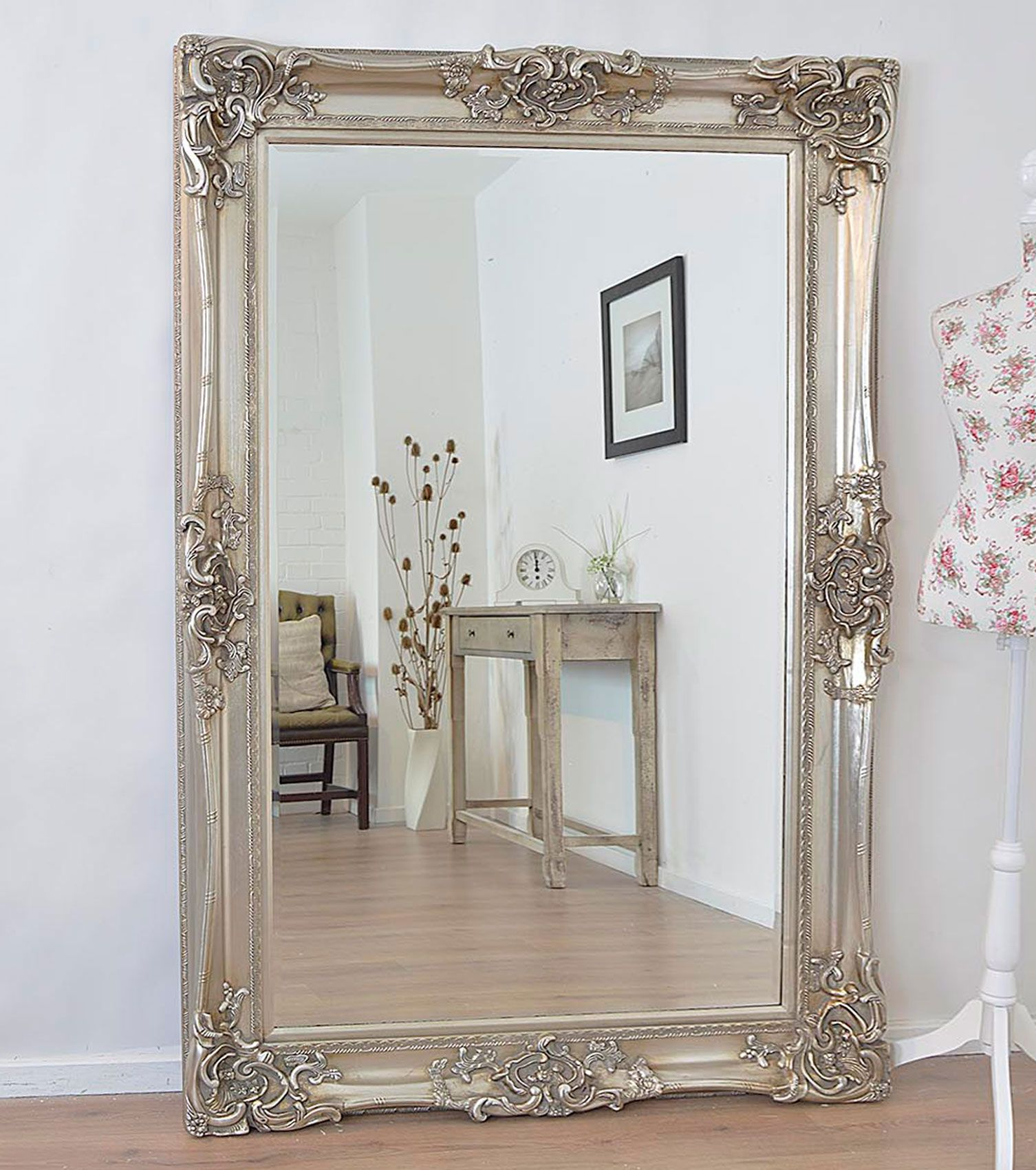 Antique design ornate wall mirror will make a beautiful for Large silver decorative mirrors
