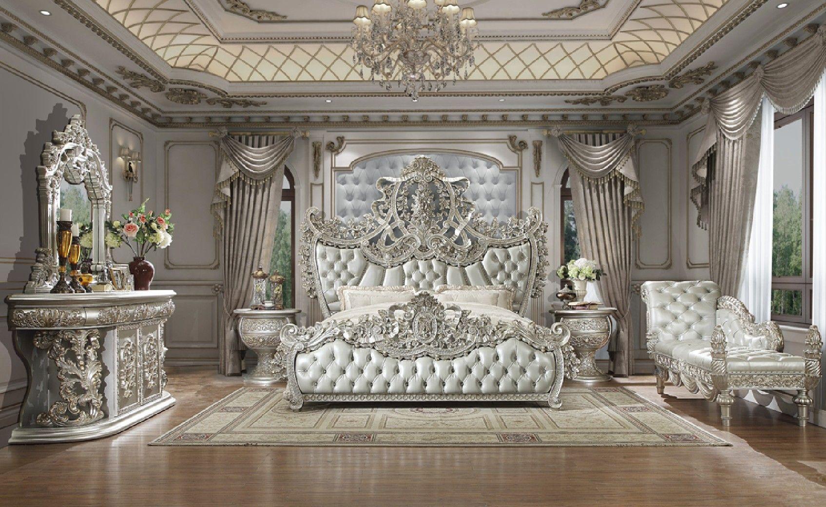 Hd 8088 Homey Design Bedroom Set Victorian Style Metallic Silver