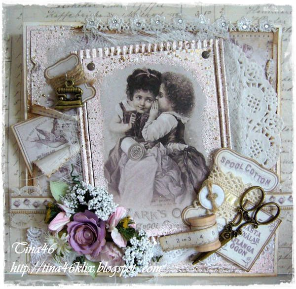 "Card created by LLC DT Member Tina Klix, using images and papers from Pion Design's ""Alma's Sewing Room"" collection."