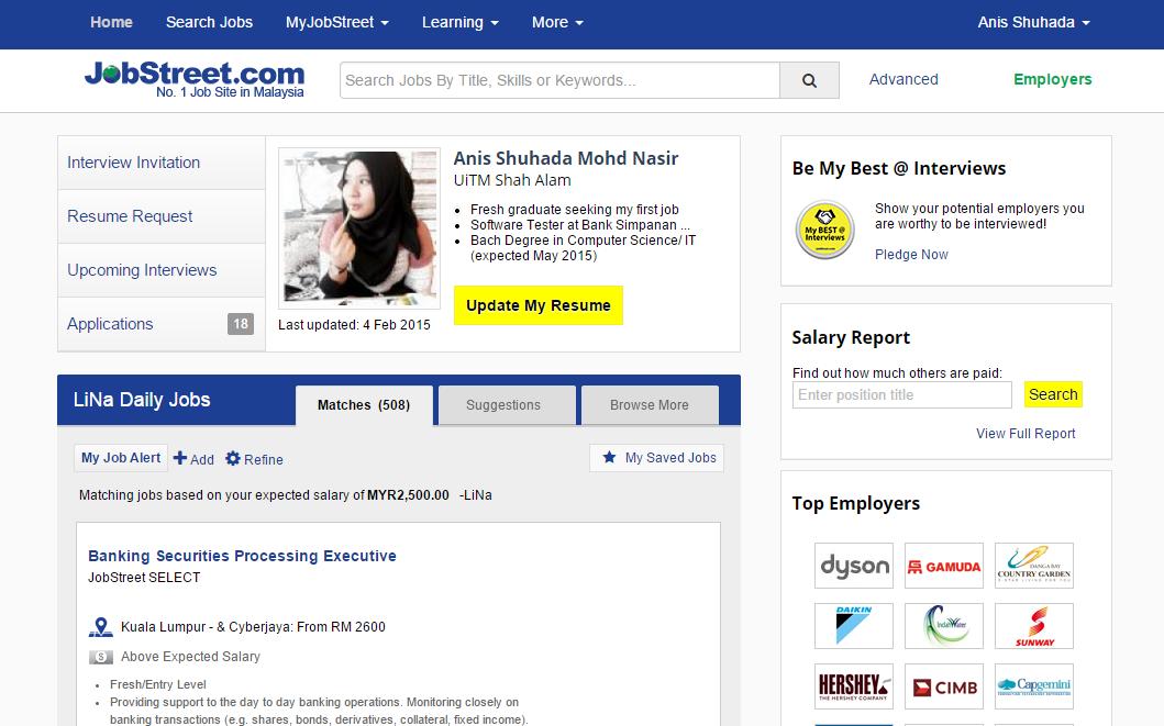 Oh Ninie Pengalaman Cari Kerja Di Jobstreet Contoh Resume Yang Baik Di Jobstreet Cari