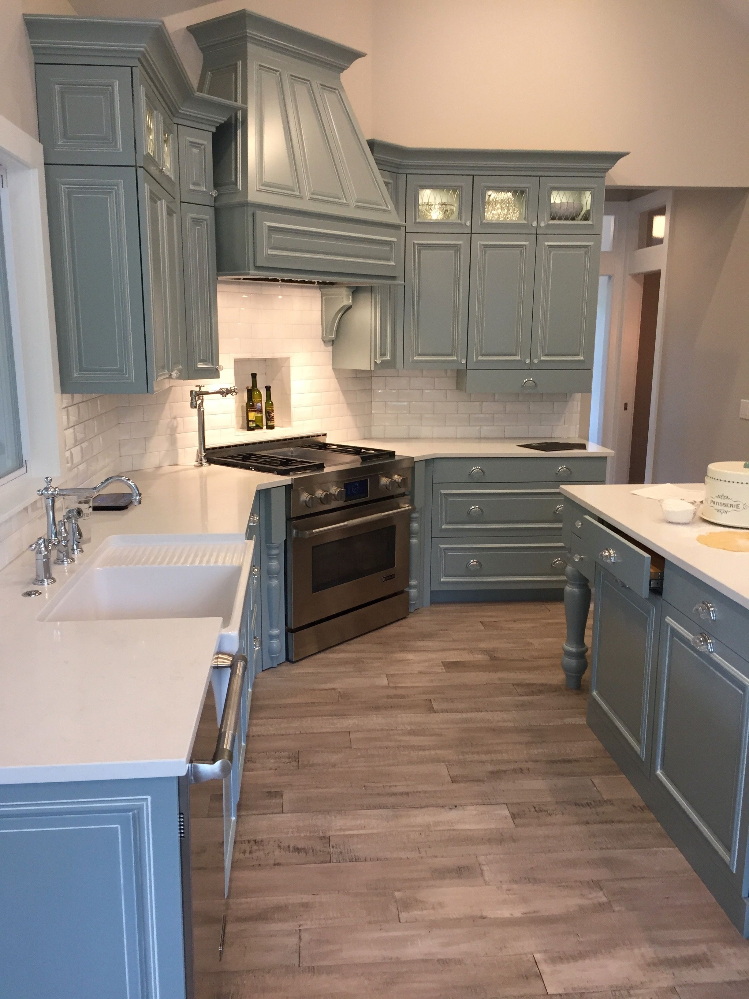 Painted Custom Cabinetry In Benjamin Moore Mount Saint Anne 1565 Benjamin Moore Kitchen Home Kitchens Painting Kitchen Cabinets
