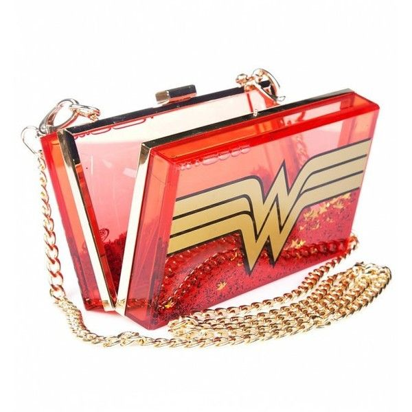 DC Comics Wonder Woman Wonderlust Glitter Perspex Cross Body Bag ($51) ❤ liked on Polyvore featuring bags, handbags, shoulder bags, clear acrylic purse, crossbody shoulder bag, red handbags, red cross body purse and red crossbody