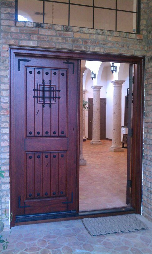 "6'0""X6'8"" Mahogany Main Entry Door w/ SpeakEasy Grills #doors"