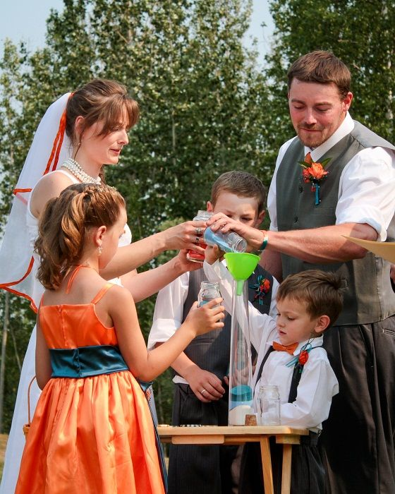 Simple Wedding Family Pictures: Blended Family: Sand Ceremony During Our Wedding: Each