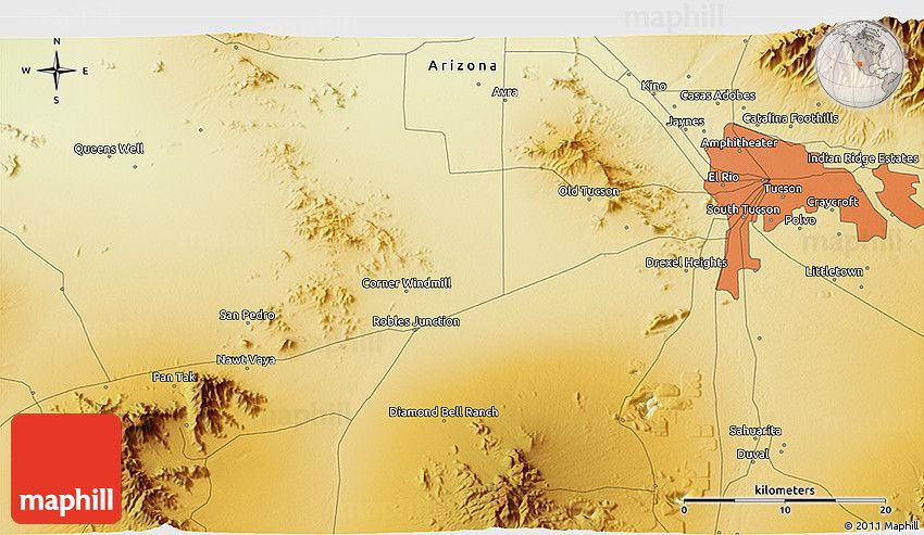 3d Map Of Arizona.Physical 3d Map Of Pascua Yaqui Indian Village Indians Yaqui