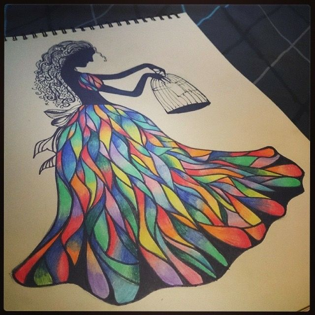 birds and freedom colorful lady sketch art sketches in 2018