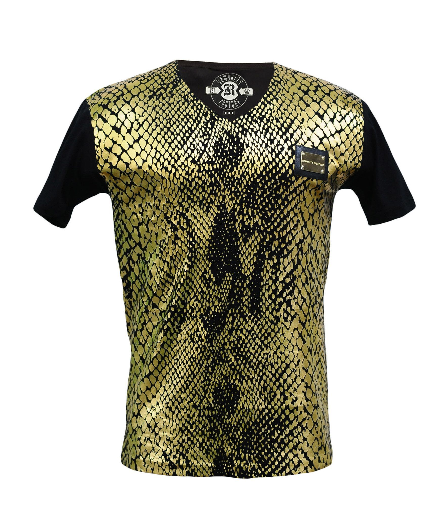 Black t shirt with gold design - Rawyalty Couture Men S Gold Raw T Shirt Black