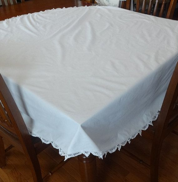 Elegant 66 Inch Round White Cotton Tablecloth With By VictorianWardrobe