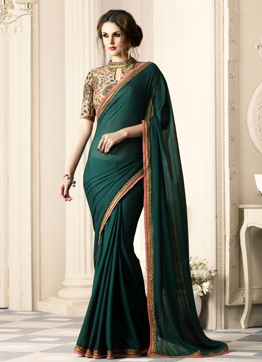 Exclusive Dark green silk saree for weddings Saree
