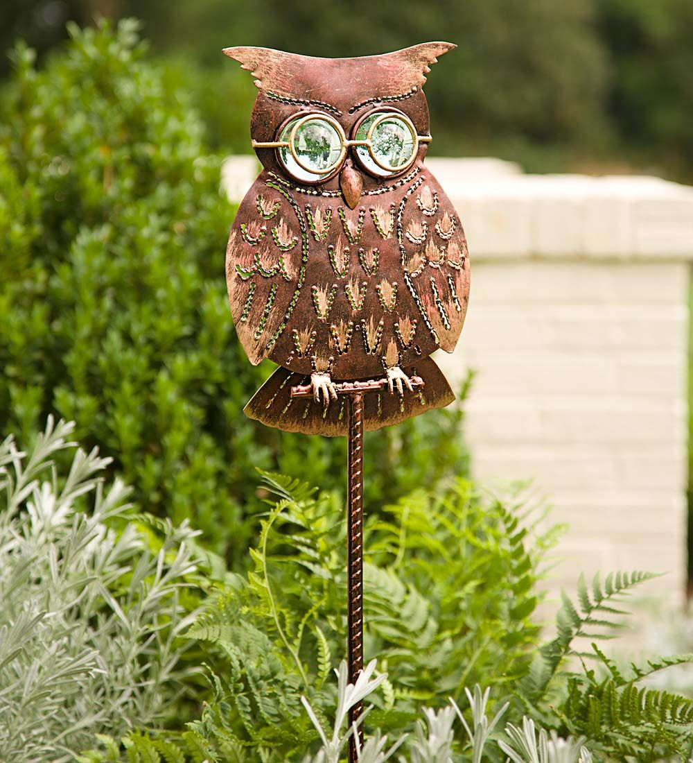 Bespectacled Owl Garden Stake In Garden Stakes