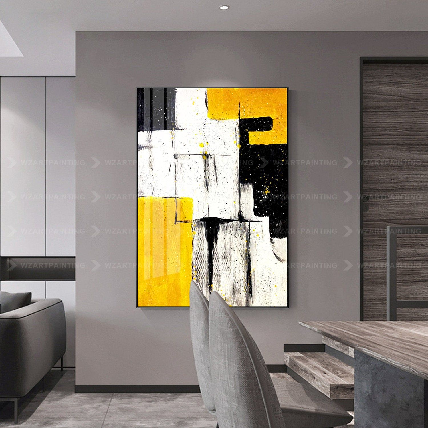 Bright Yellow White Abstract Acrylic Print Painting On Canvas Large Wall Art Cuadros Grandes Abstract P Large Wall Art Modern Art Abstract Wall Canvas Painting