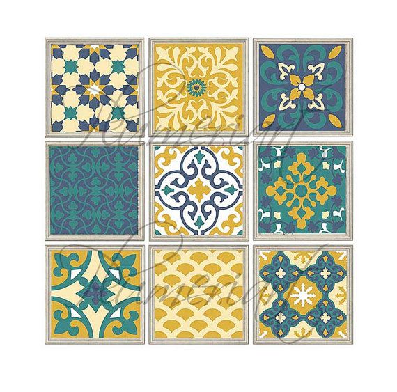 Patchwork Moroccan Style Wall Art Digital Mosaic By Plumeriart With Images Green Wall Art Olive Green Walls Mosaic Tiles