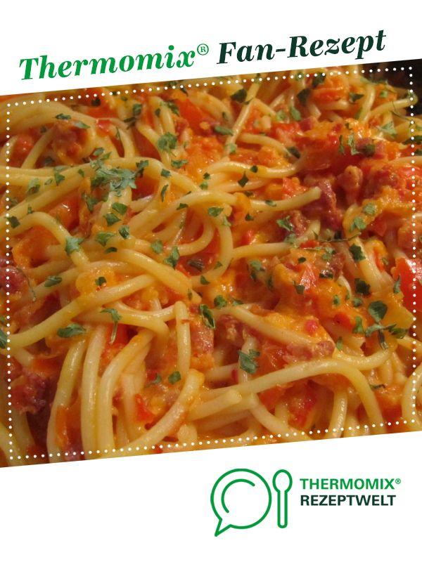 Spaghetti Carbonara mit Paprika