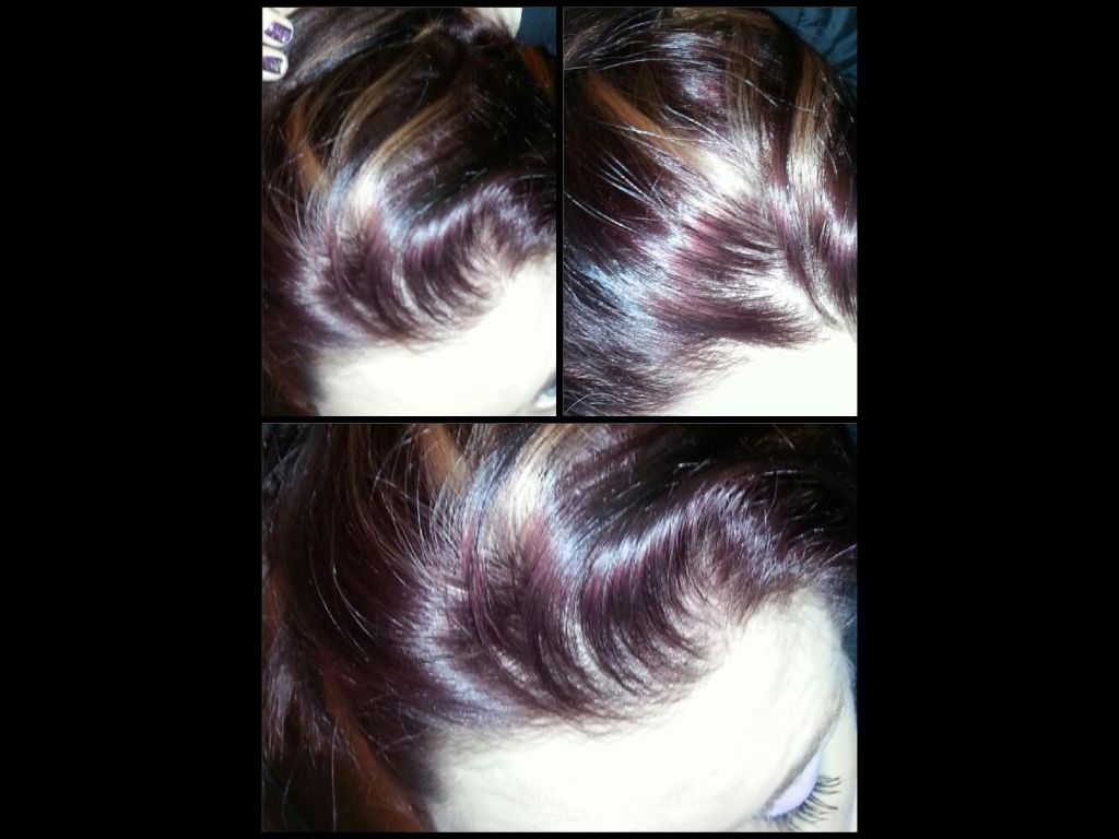 Burgundy with blonde foils