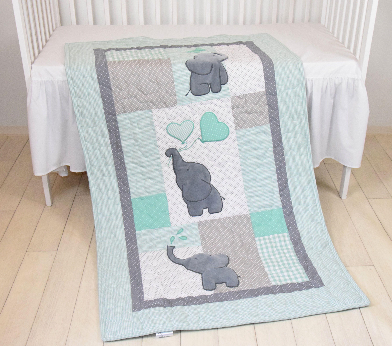 Mint, Babyquilt, Elefanten Decke, rosa grau Kinderbett Bettwäsche ...