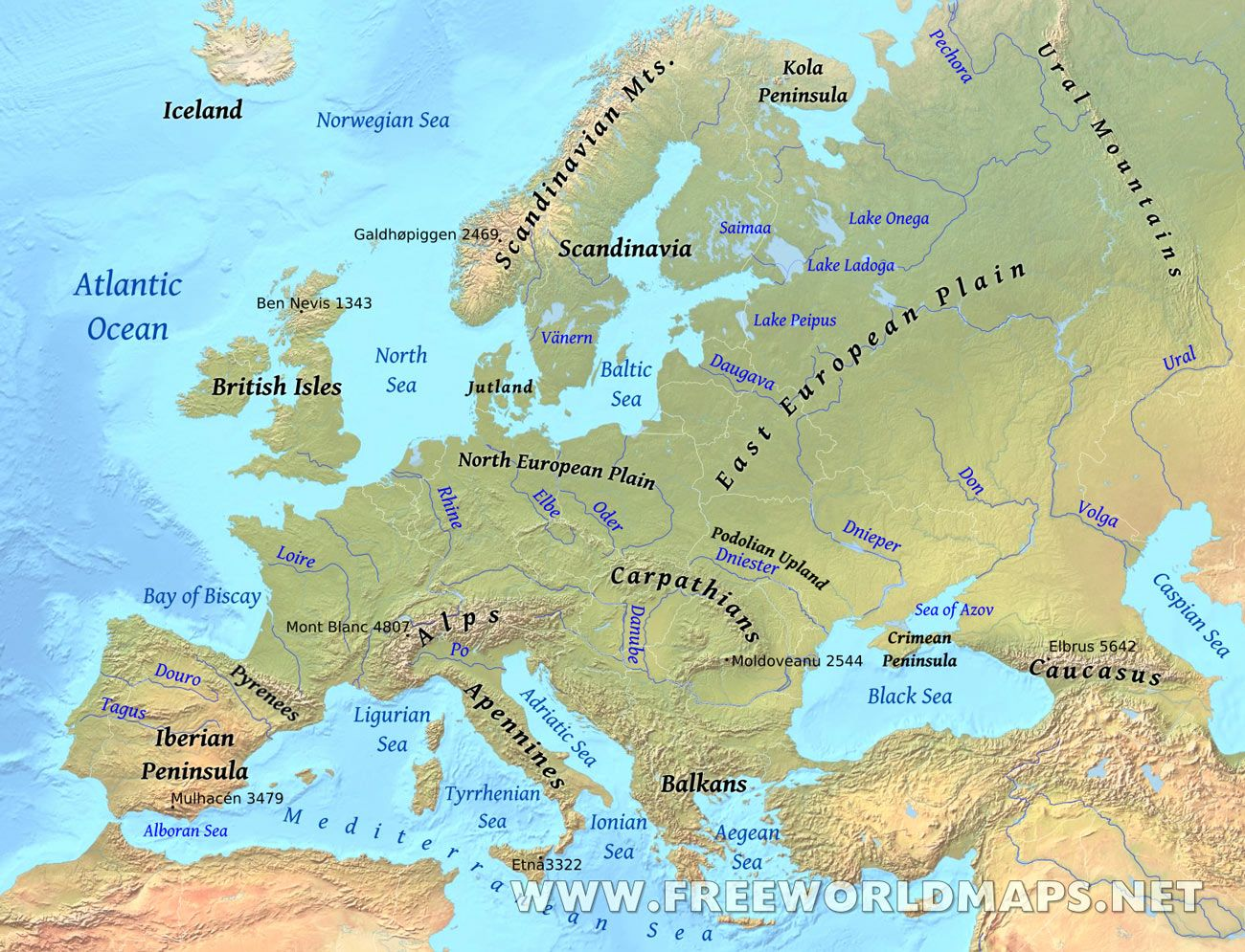 Europe Physical Map | Europe maps | Pinterest | Geography