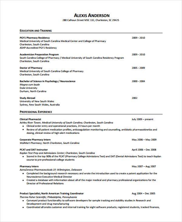Sample Pharmacist Resume Resume Template Education Resume Resume Templates