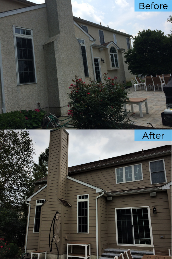 Before And After Replacing Stucco Siding In Chester Springs Pa With Rot Resistant Fiber Cement Planks Stucco Siding Fiber Cement Siding