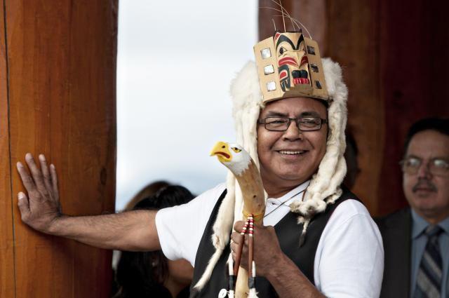 Media Gallery | Nisga'a Lisims Government Nisga'a Elder Nisga'a Chief with his talking stick at the opening of the new Community Centre in the Nisga'a Village of Gingolx.
