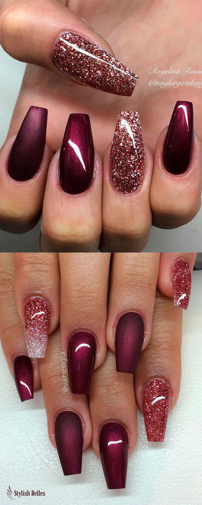 120 Best Coffin Nails Ideas That Suit Everyone Maroon Nails Shiny Nails Designs Burgundy Nails