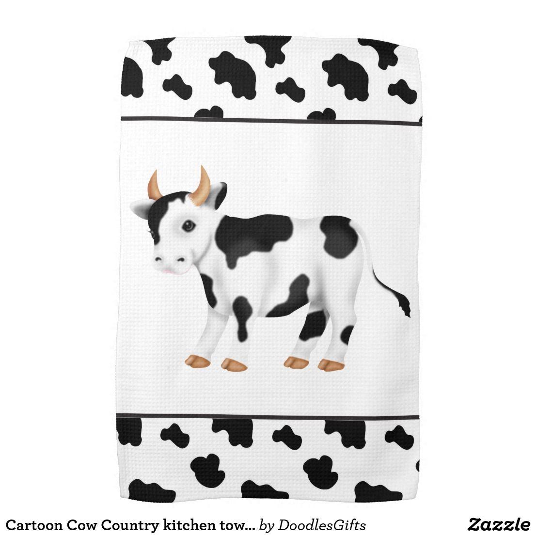 Cartoon Cow Country Kitchen Towel Zazzle Com Country Cow Cartoon Cow Cow Kitchen