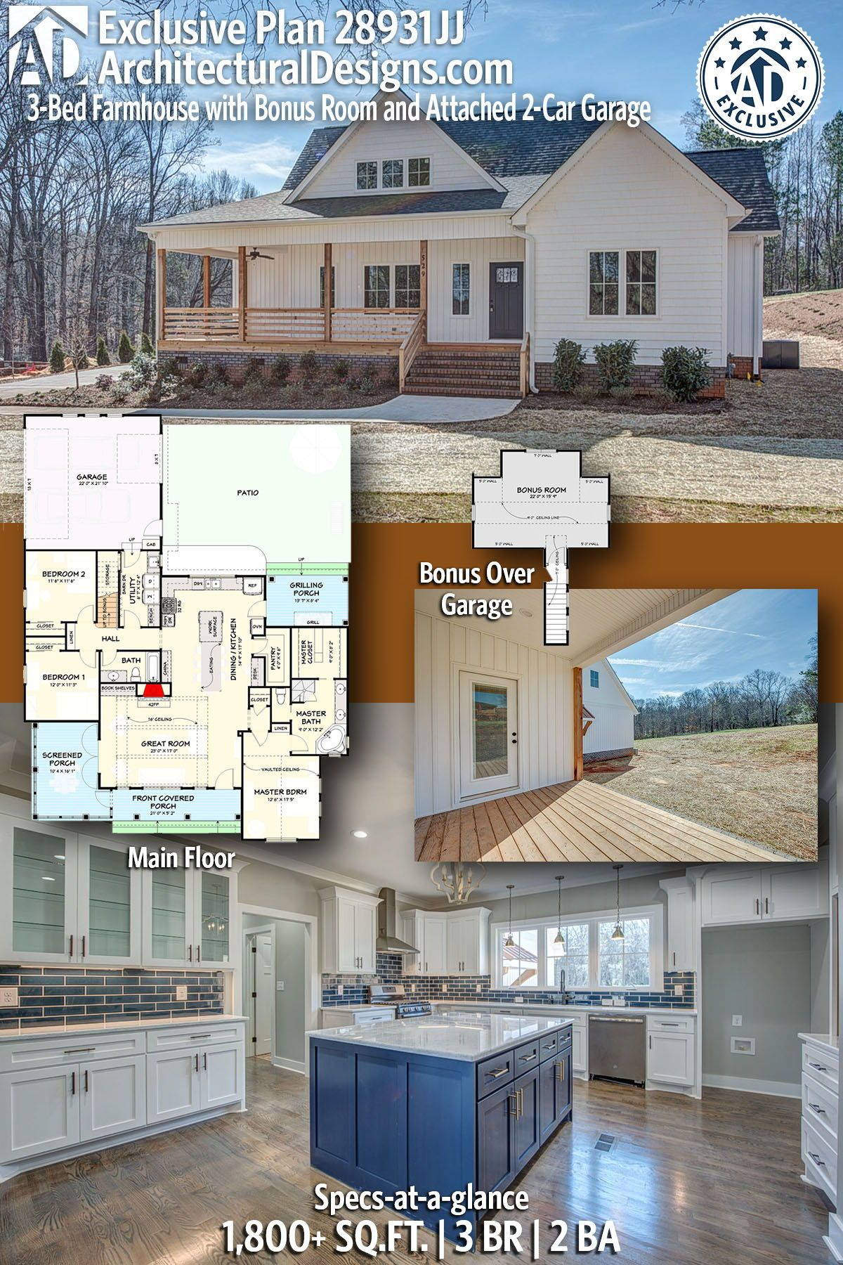 Modern Farmhouse House Plan 28931JJ gives you 1,800+ sq ft of living space with 3 bedrooms and 2 full baths. AD House Plan #28931JJ #adhouseplans #architecturaldesigns #houseplans #homeplans #floorplans #homeplan #floorplan #floorplans #houseplan
