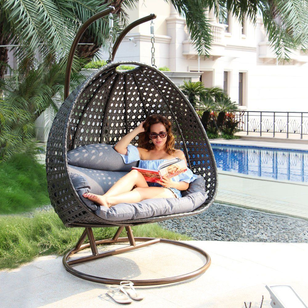 Swing Chair With Stand Amazon Rental Of Tables And Chairs Com Luxury 2 Person Wicker Cushion Outdoor Porch Furniture By Island Gale Max 528 Lbs Stands For Extra Safety