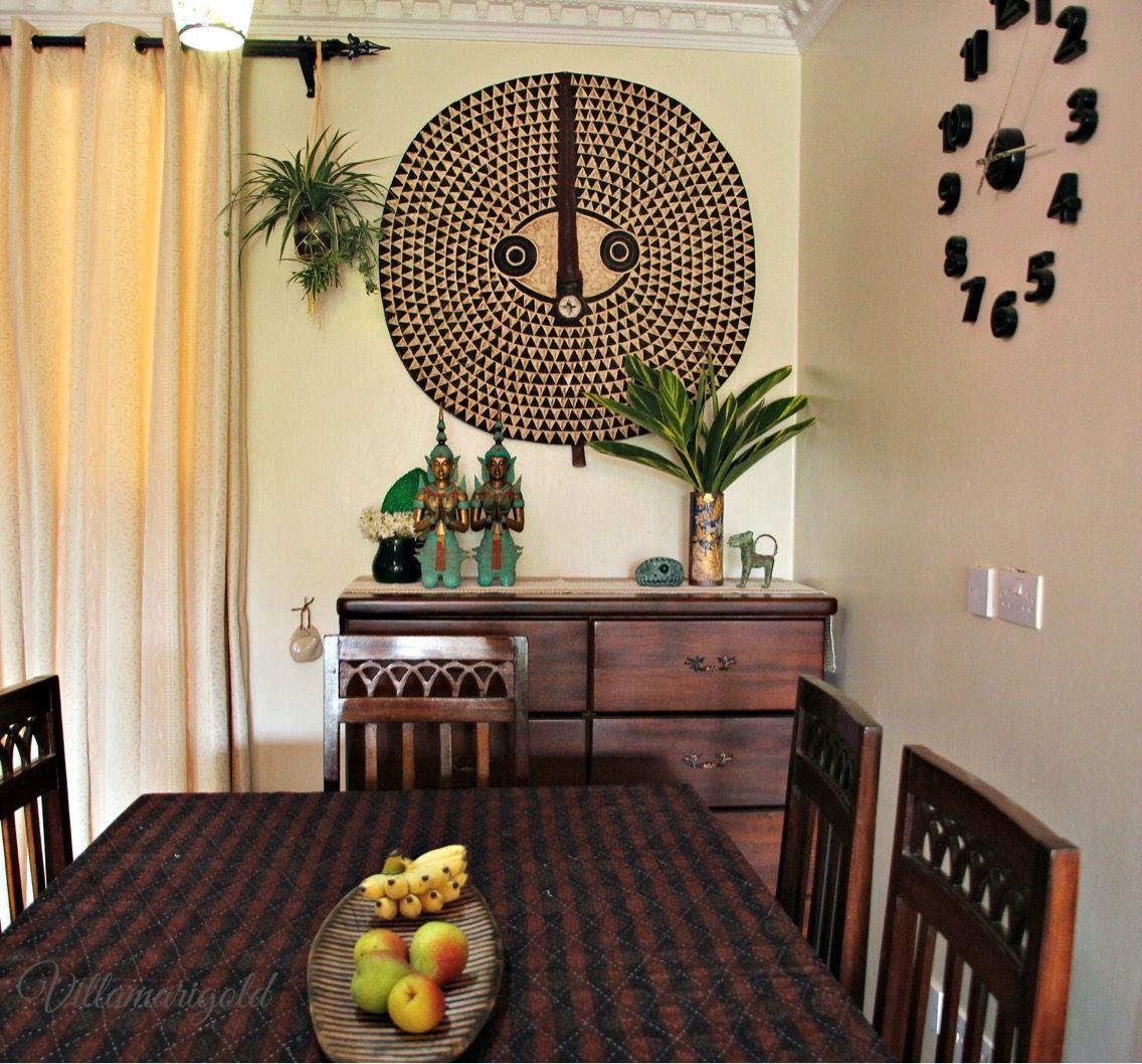 Our Revamped Dining Space Villamarigold Blog African Mask Bobo Sun Mask From Burkinafaso Teppanom Statues Asian Decor Bathroom Trending Decor African Decor African decor dining room