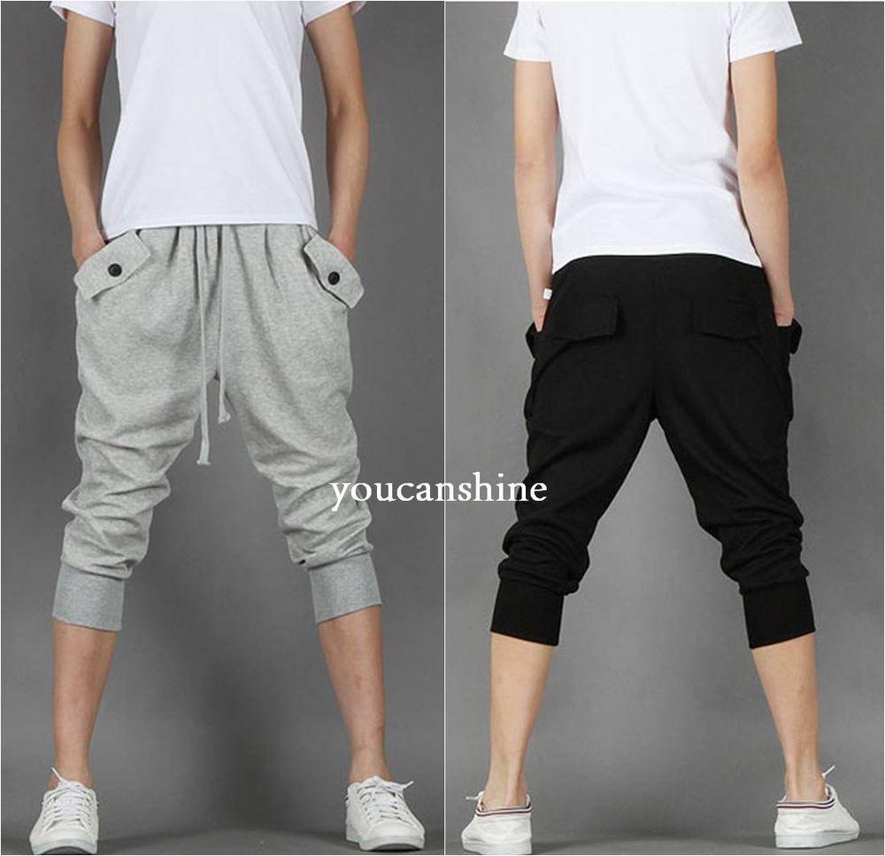 Men S Capri Jogger Sports Shorts Baggy Harem Cropped Pants