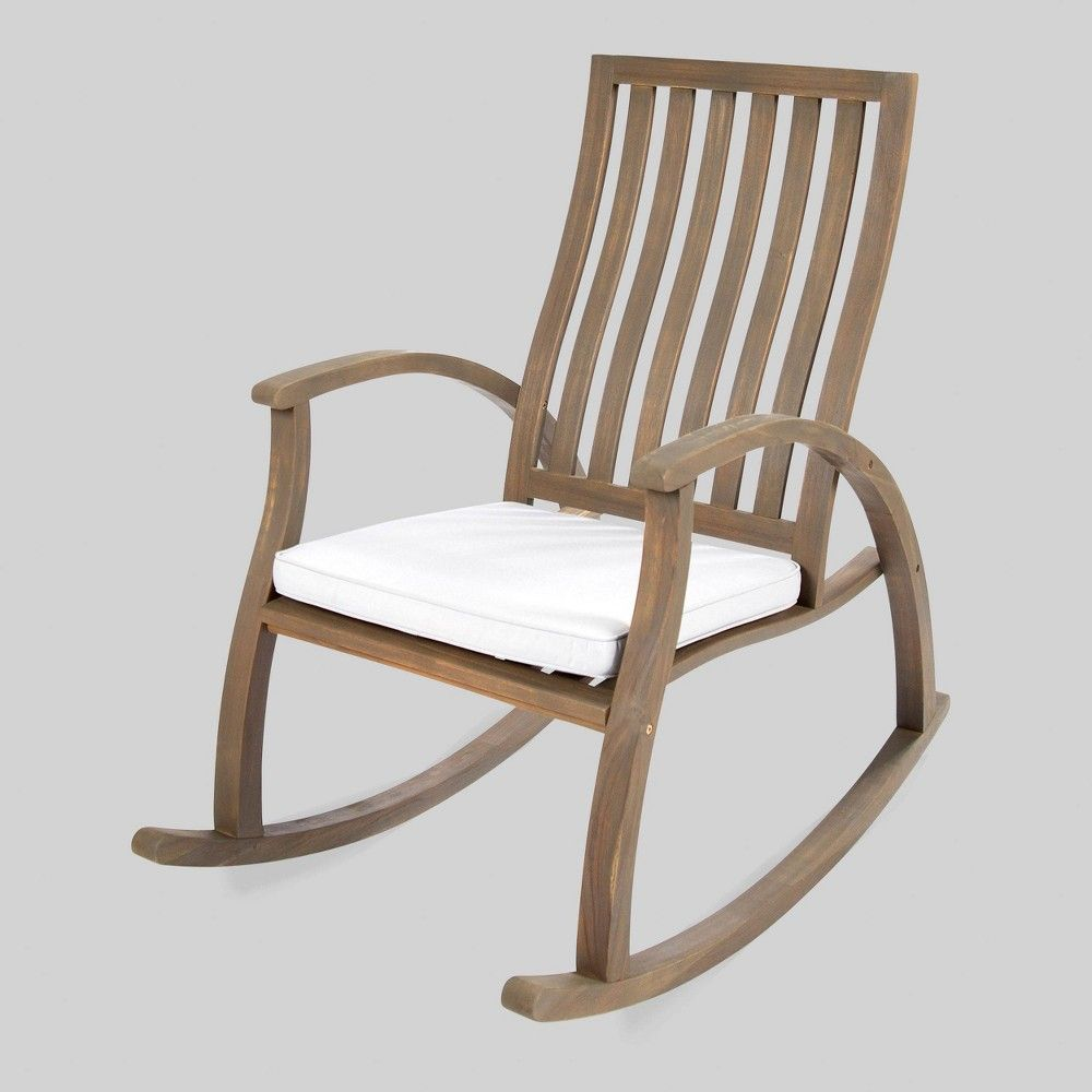 Patio Rocker Chairs Cayo Acacia Wood Outdoor Patio Rocking Chair Gray Christopher