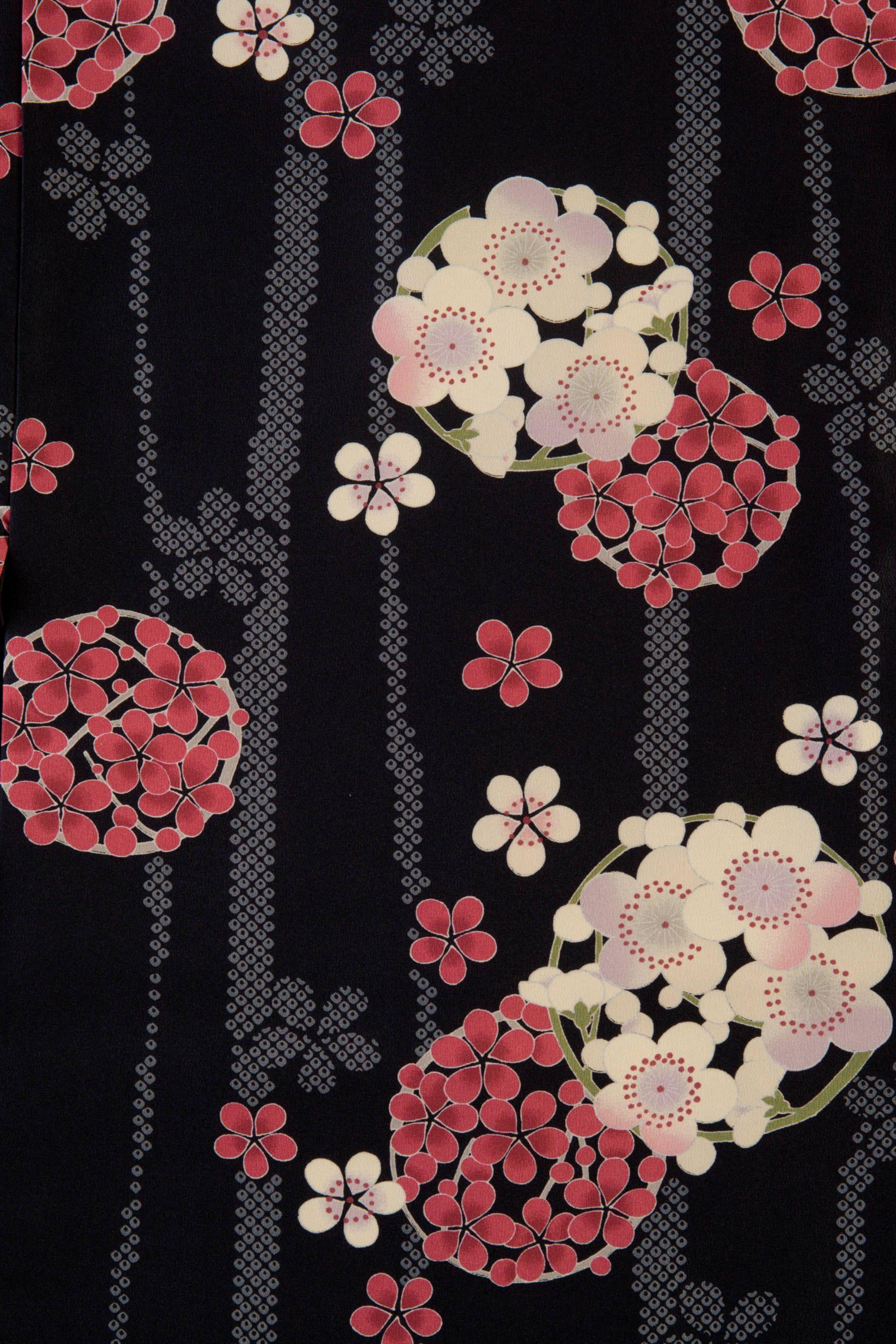 黒地の梅の花輪柄 和柄 壁紙 模様 和柄 イラスト