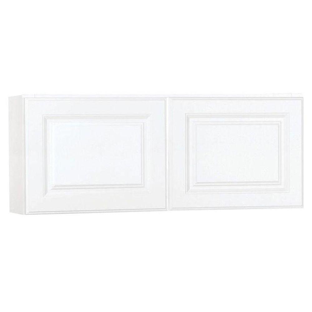 Hampton Bay Hampton Assembled 30x18x12 In Wall Bridge Kitchen Cabinet In Satin White Kw3018 Sw The Home Depot Wall Cabinet Kitchen Cabinets Cabinet