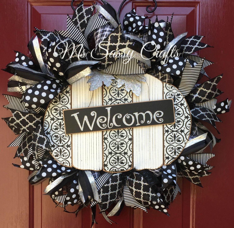 Fall Wreath  Pumpkin Wreath  Black And White Wreath