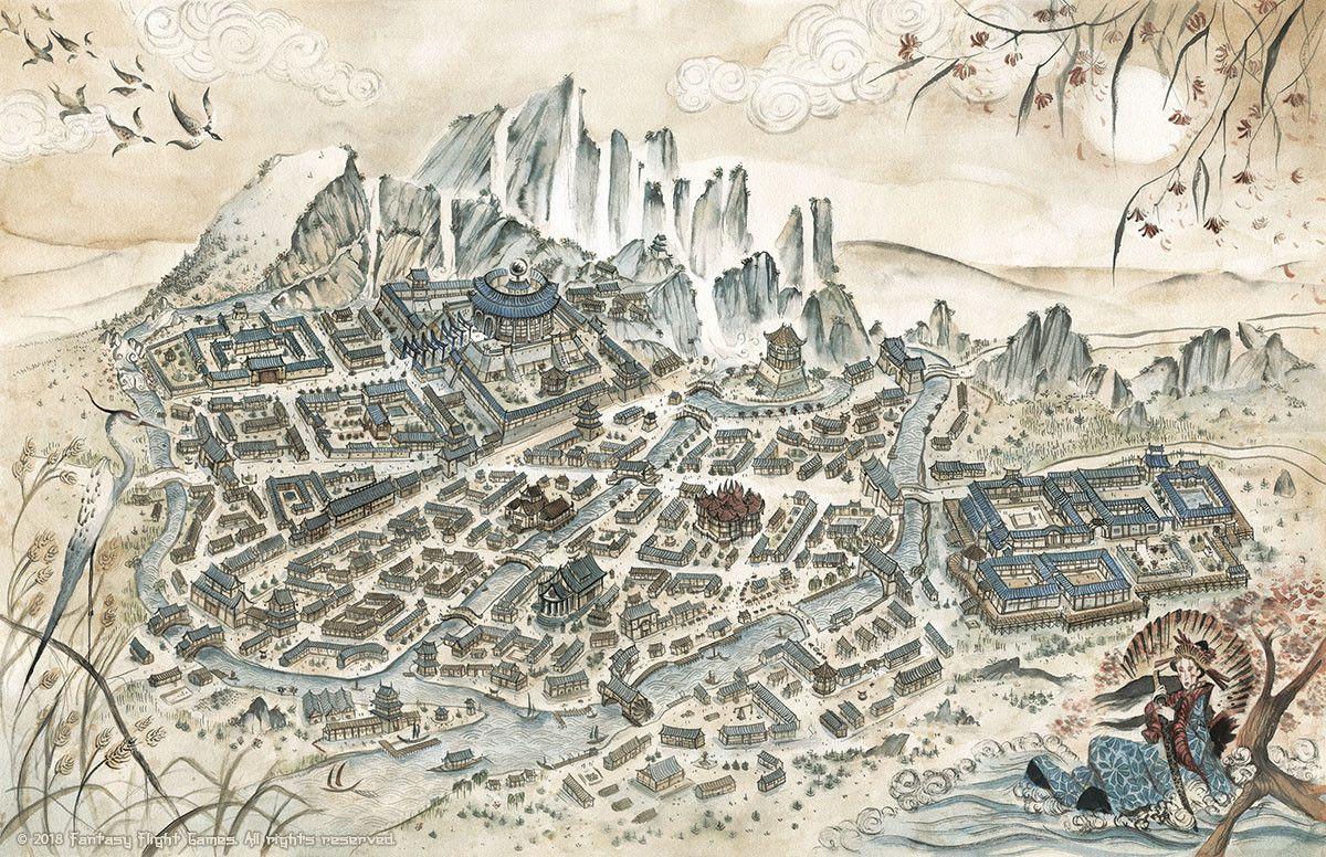 Artstation Legend Of The Five Rings Rpg Village Map Francesca