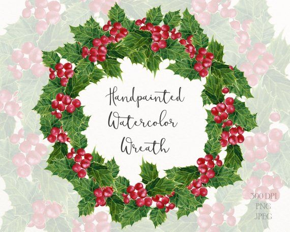 Christmas wreath holly. Png clipart with berries