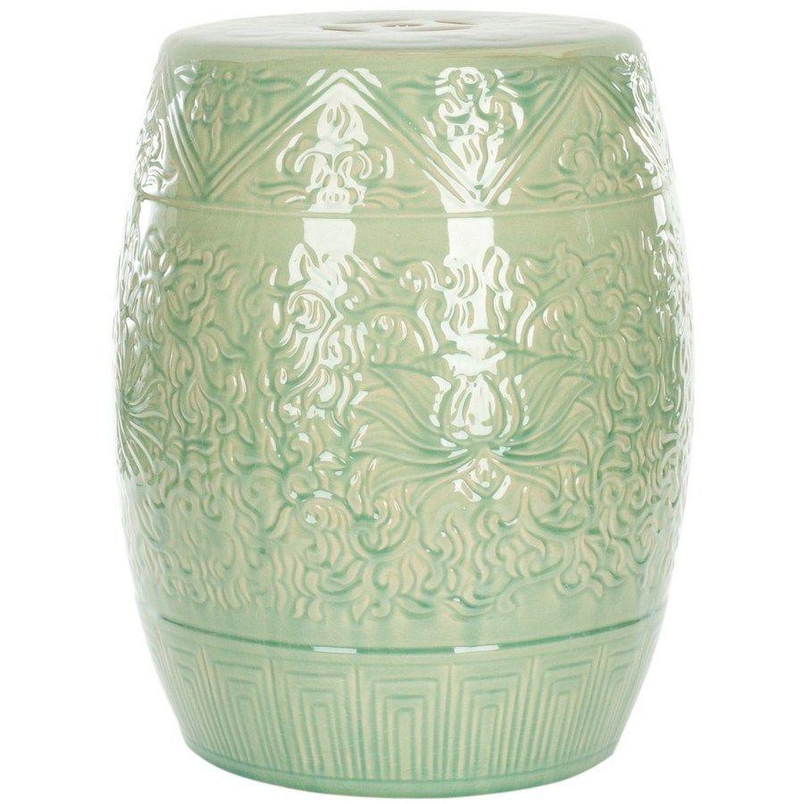Safavieh 18.5 In Light Green Ceramic Barrel Garden Stool