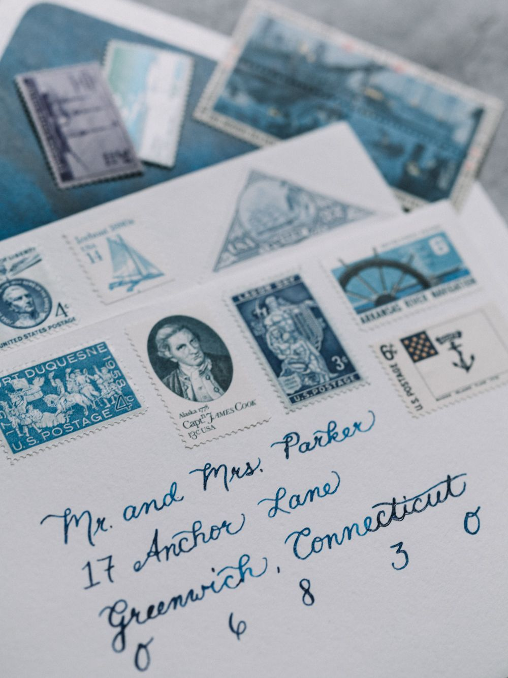 Elevated Nautical themed wedding invitations: deep navy watercolor ...