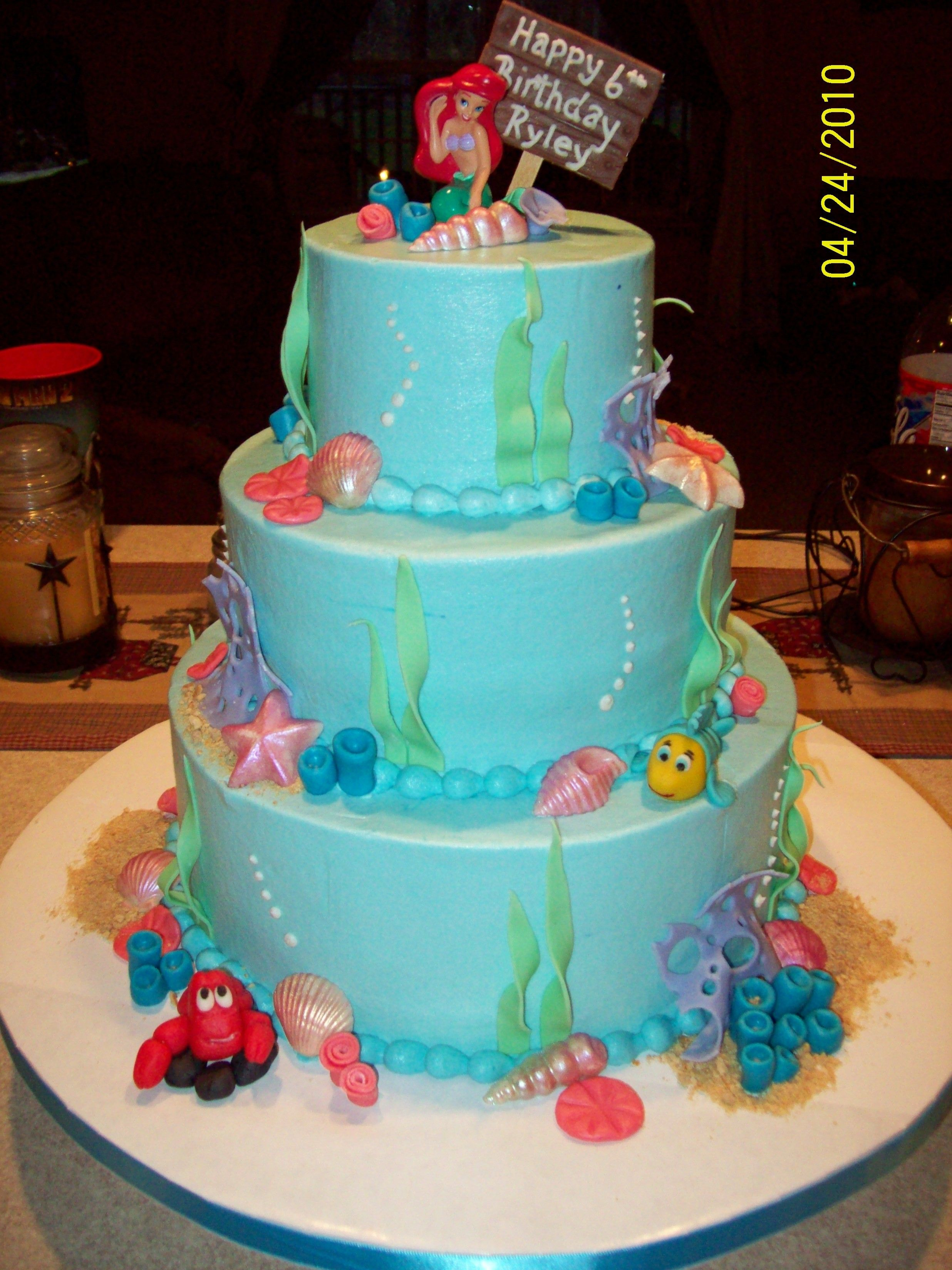 Excellent The Little Mermaid Mermaid Birthday Cakes Little Mermaid Personalised Birthday Cards Beptaeletsinfo