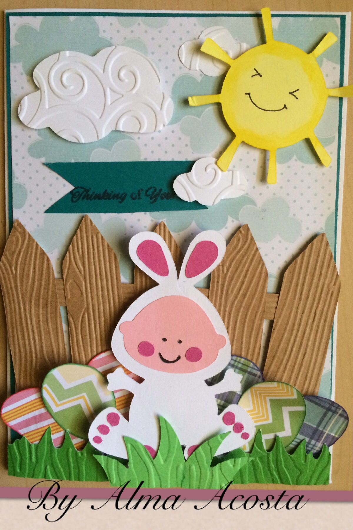 Easter card, I used simply Charmed Cricut cartridge for the bunny and the sun, Artiste for the fence.. Hope you like it