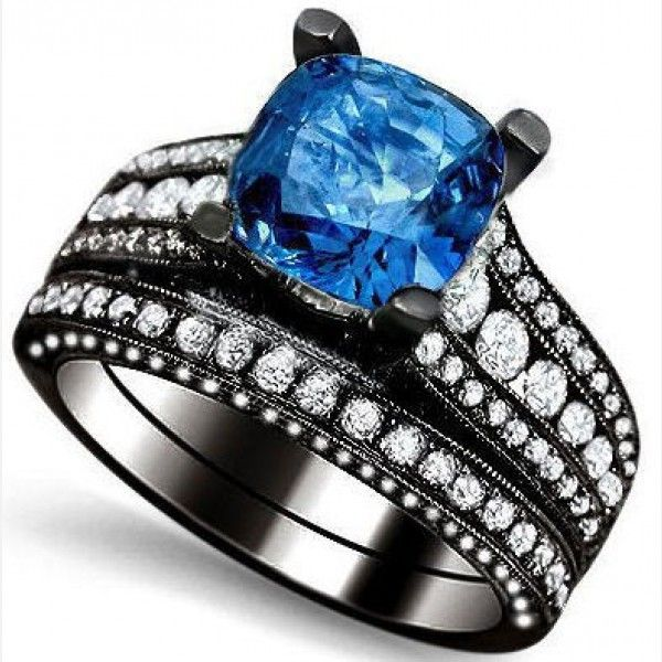 Cushion Cut Created Blue Sapphire Rhodium Plated Sterling Silver Diamond Engagement Ring Bridal Set