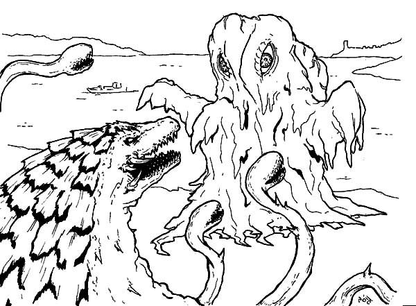 Godzilla Facing Sea Monster Coloring Pages Color Luna Monster Coloring Pages Monster Truck Coloring Pages Cartoon Coloring Pages