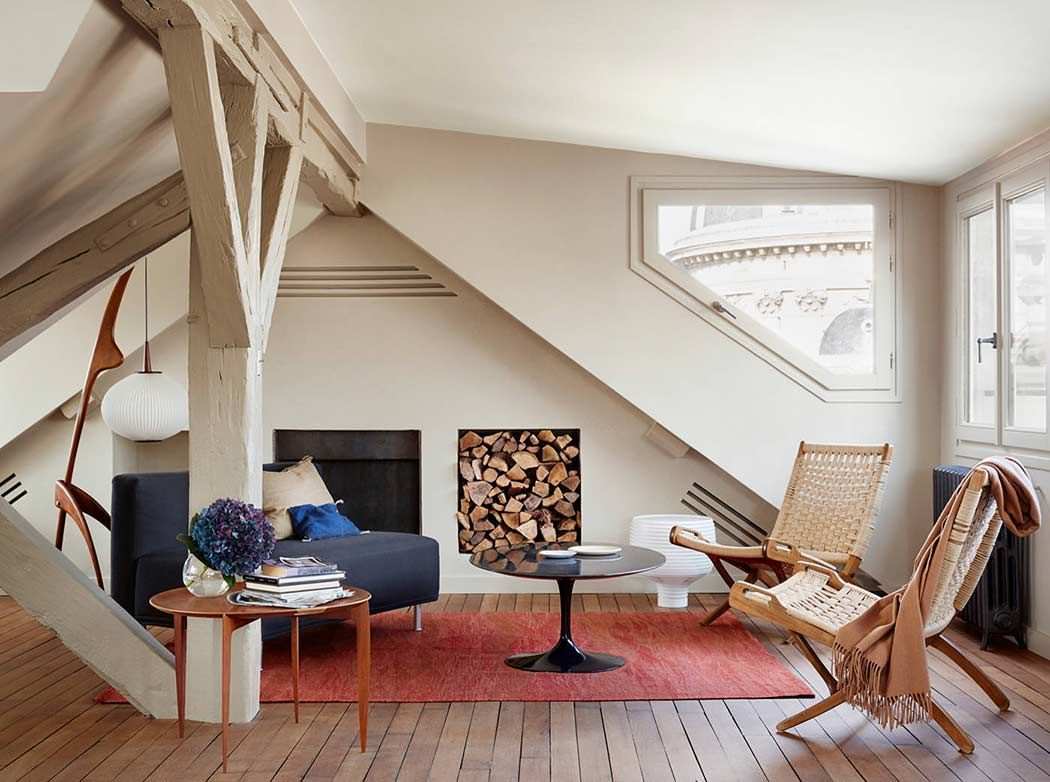 Attic Living Room relaxing attic living room with cream colored walls and modern