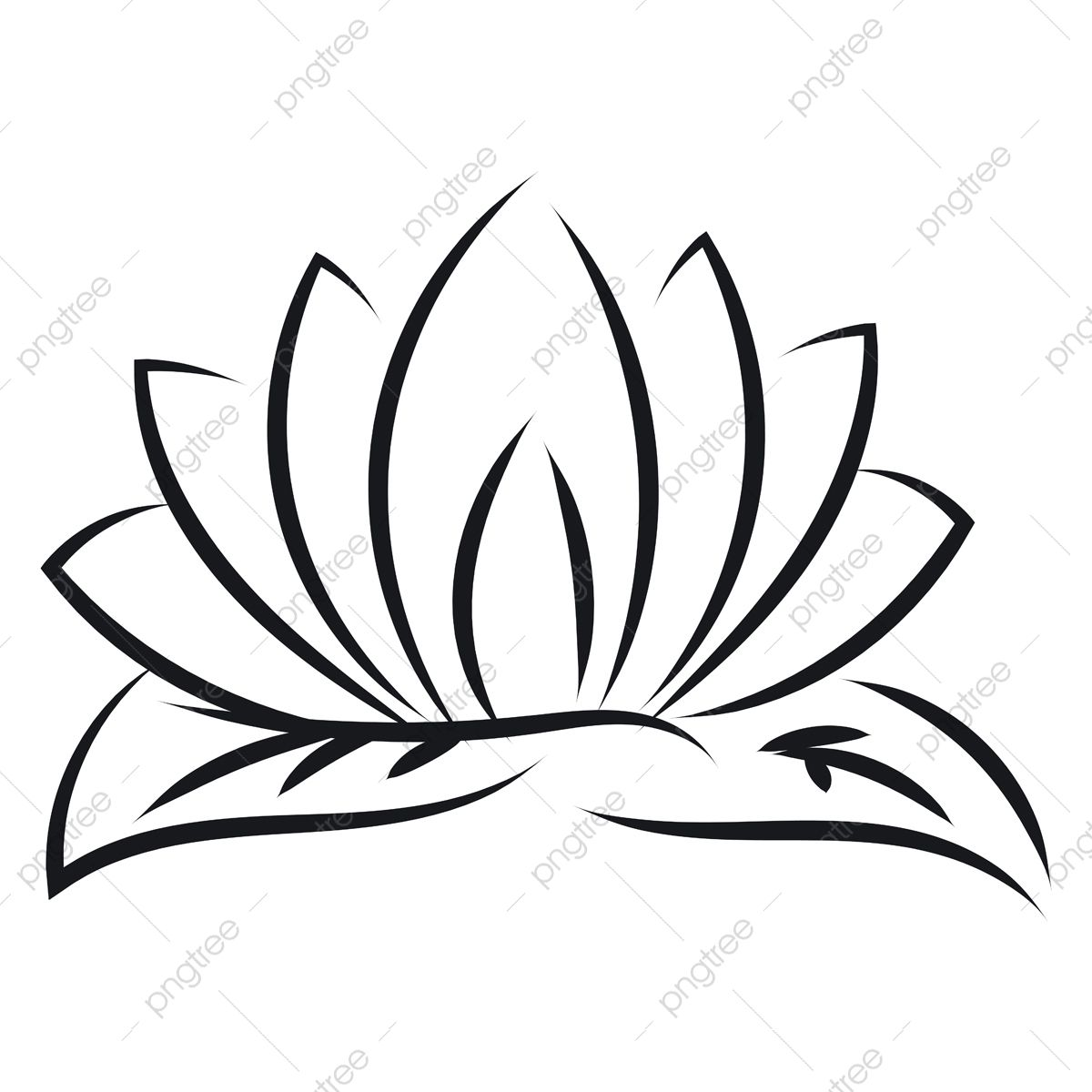 Black Outlines Of Lotus Vector Illustration On White Background Lotus Flower Sketch Png And Vector With Transparent Background For Free Download Lotus Vector Vector Illustration White Background