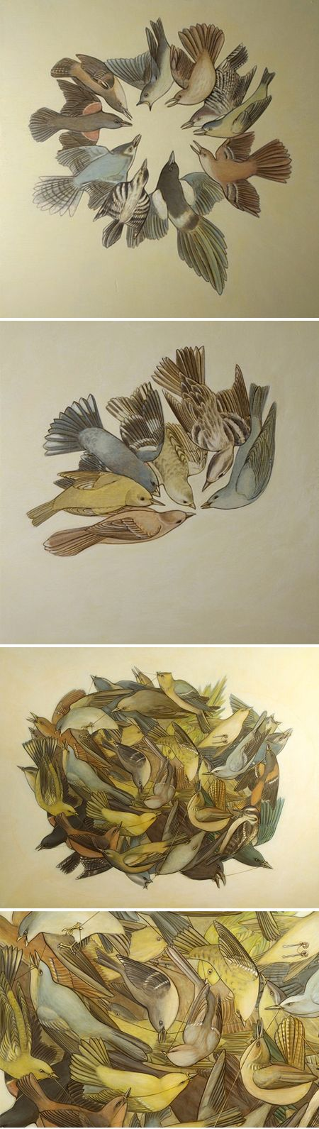 """Swarm"" birds on wood panels by San Francisco artist Alison Kendall Swearingen, a Trained marine biologist and science illustrator."
