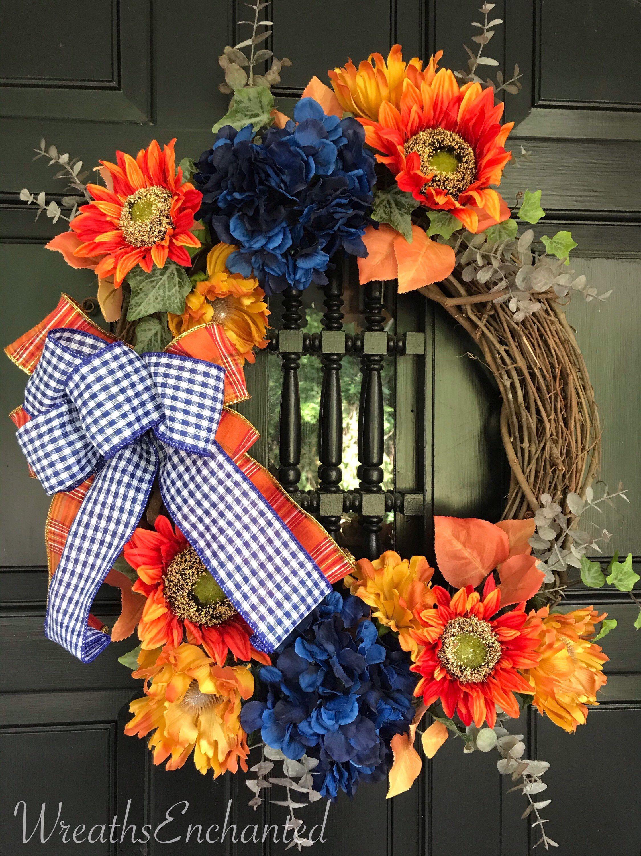 Fall Wreath Front Door Autumn Wreath Rustic Wreath Sunflower Orange Blue Porch Wreath Housewarming Fall Decor