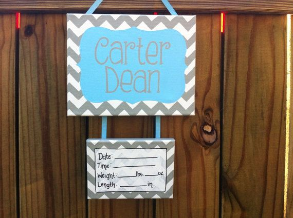 Baby blue and gray hospital door decoration, baby, nursery, bedroom door sign, personalized on Etsy, $35.00