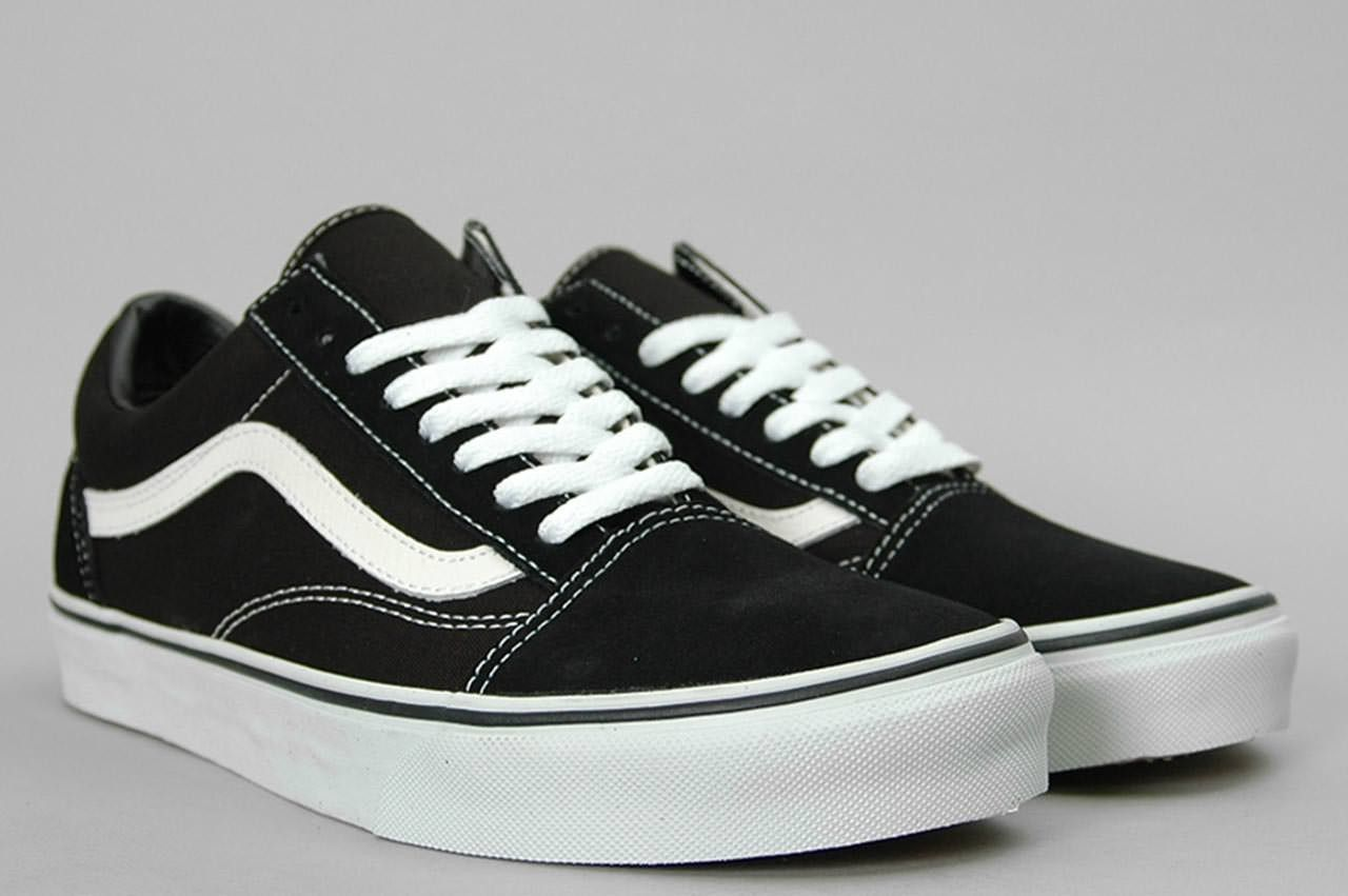 old school white and black vans